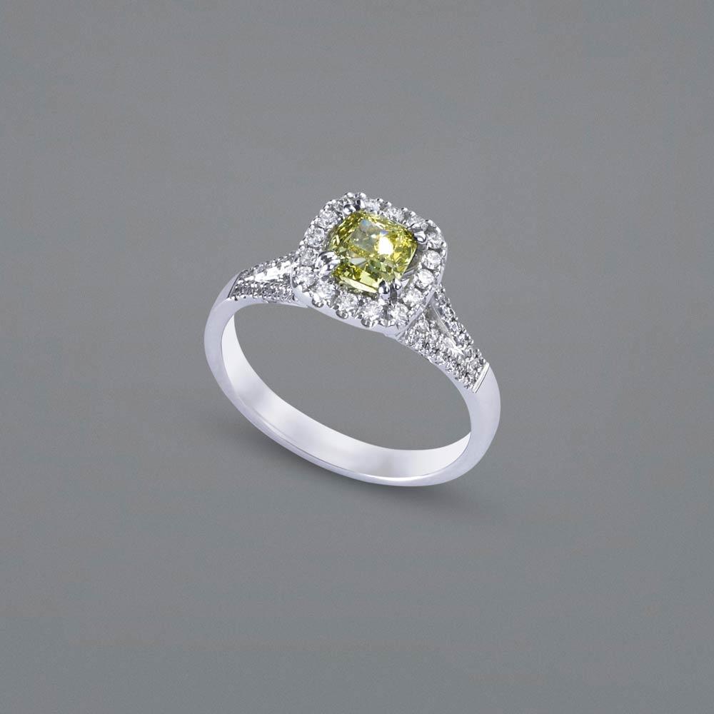 Cushion Cut Yellow Diamond Engagement Ring