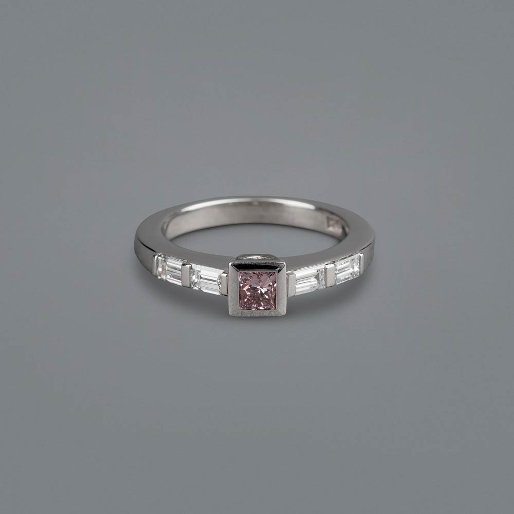 f98c20c250ad4 Princess cut pink-champagne diamond engagement ring